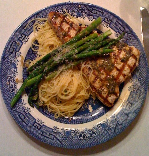 Swordfish with Lemon Capellini and Asparagus
