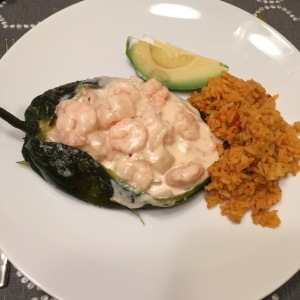 Poblano with shrimp, avocado and rice